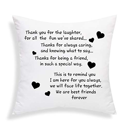 Decorative Pillow with Insert We are Best Friends Forever Friends Throw Pillow Cushion Pillow for Sofa Car Home 18 x 18 Inch