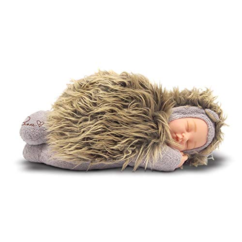 Anne Geddes 572608 Large Sleeping Baby Hedgehog Doll 12 inch / 30 cm - Bean Filled Soft Body / Grote slapende baby-egel pop 30 cm - Bean Gevuld Zacht Lichaam