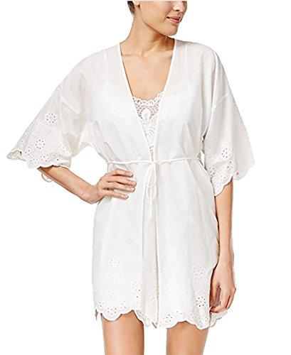 Linea Donatella Womens Embroidered Elbow Sleeve Wrap Robe White S/M