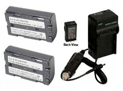 2 Batteries + Charger for Panasonic AG-HPX170, Panasonic AG-HPX170P, Panasonic AG-HVX200, Panasonic AG-HVX200A