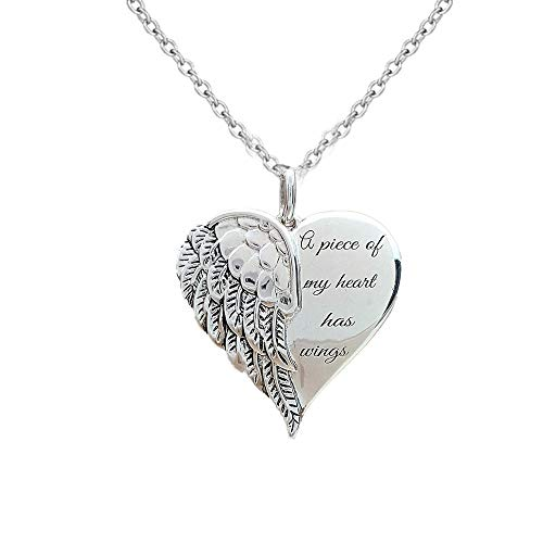 PONCTUEL ESCARGOT Love Heart Angel Wing Necklace Women Teens Short Chain Jewelry A Piece of My Heart Has Wings Necklace