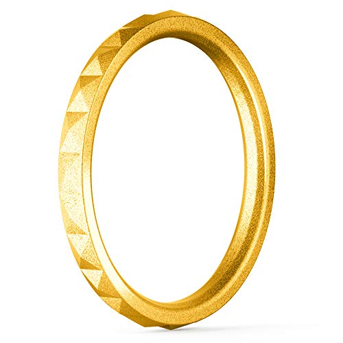 ThunderFit Thin and Stackable Silicone Ring Wedding Band for Women - Diamond Pattern - 1 Ring (Gold, 6.5 - 7 (17.3mm))