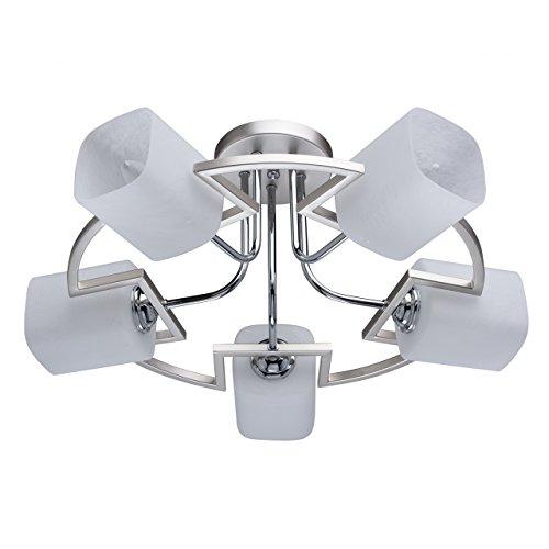 DeMarkt 673011605 Lampadario da Soffitto Metallo Colore Argento Vetro Bianco in Stile Contemporaneo 5 x 60W E14 Escl