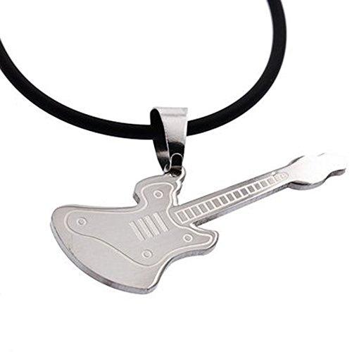 DonDon Collar de Cuero con Colgante Guitarra eléctrica de Acero Inoxidable para...