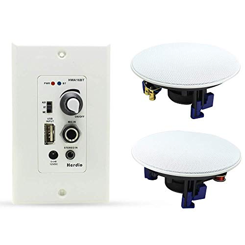Herdio Home Audio Package Wall Mount Audio Control Amplifier Receiver System and HCS-418 in Ceiling...