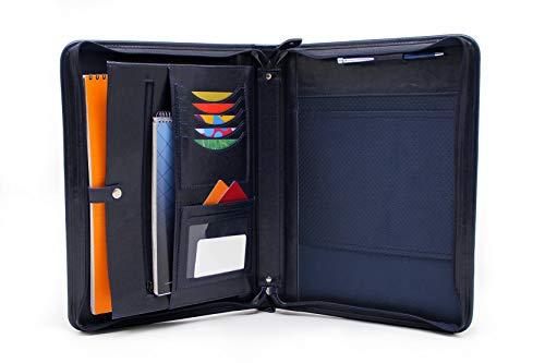 Cartera de piel sintética, funda para bloc de notas, soporte para cuadernos, carpeta de conferencias A4 (azul)