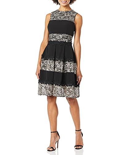 Tahari by Arthur S. Levine Women's Sleevelace Lace and Stripes Fit and Flare Dress, Black/Blush, 20