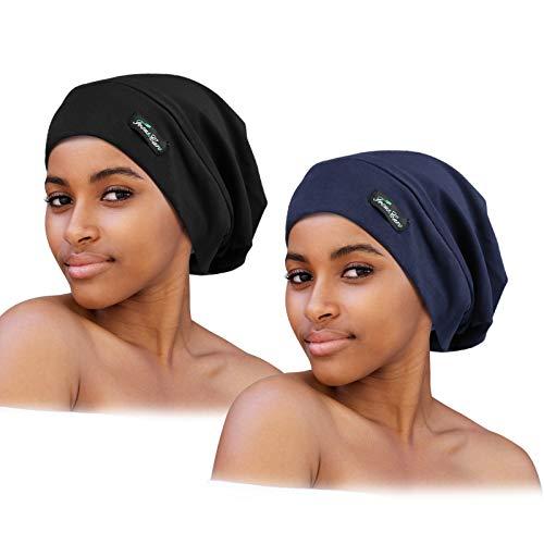 2 Stück verstellbare Schlafmütze mit Satin gefüttert für lockiges Haar, Dreadlocks, Zöpfe, erhältlich für Männer und Frauen - - Einheitsgröße