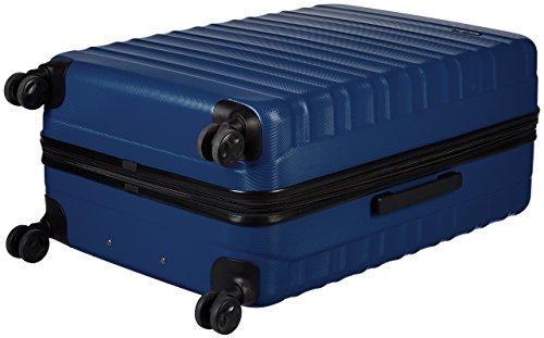 Amazon Basics - Set di trolley rigidi con rotelle girevoli, Set da 3 pezzi (55 cm, 68 cm, 78 cm), Blu scuro