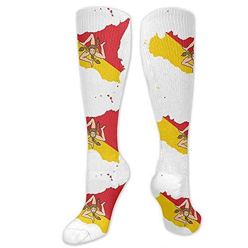 Sokken-vlag kaart van Sicilië Casual bemanning sokken beste voor Crossfit reizen verpleegkundige-hardlopen & fitness