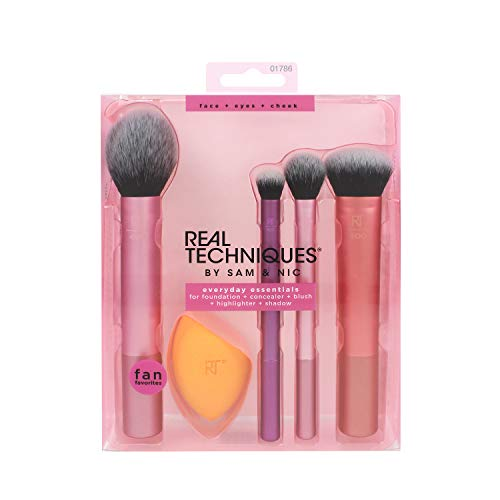 Real Techniques Everyday Essentials - Set completo di pennelli da trucco...