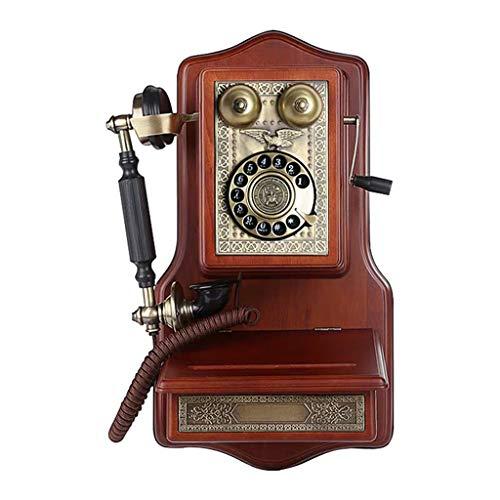 ZARTPMO Teléfono clásico Antiguo de Estilo Europeo Reloj mecánico Retro de Pared teléfono Fijo con dial Giratorio