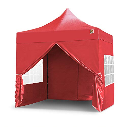 Gorilla Gazebo 2.5x2.5mtr Pop Up Commercial Grade Gazebo with Four Side Panels and Wheeled Carrybag (Red)