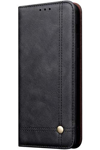 Funda de piel compatible con iPhone 11, funda de piel sintética de poliuretano con función atril, con ranura para soporte para Samsung S20 Ultra Smart Phone Beige Negro