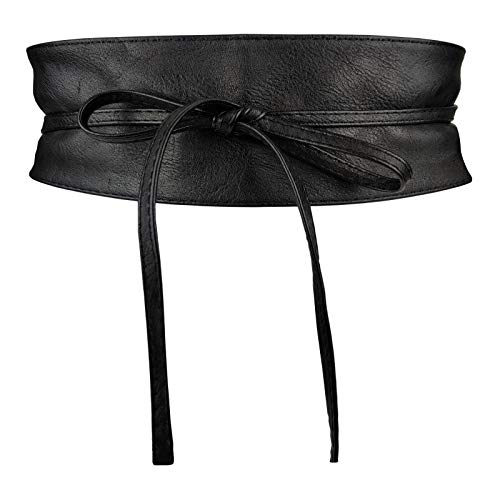 Colkor Ceinture femme large obi similicuir Taille unique- noir