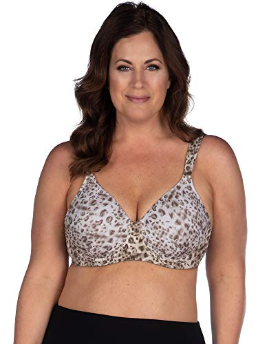 LEADING LADY The Brigitte Full Coverage Wirefree - Molded Padded Seamless Bra - Water Color Leopard, 50F