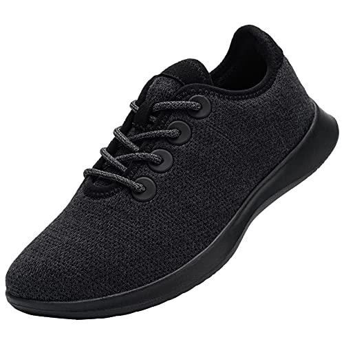 DYKHMATE Zapatillas de Running Mujer de Lana Casual Running Shoe Transpirables Ligero Impermeable Zapatos de Deporte para Caminar(Negra Pura,38 EU)