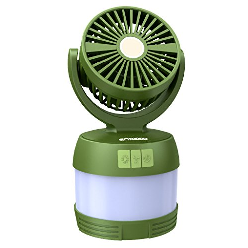 ENKEEO Portable 4-in-1 LED Camping Lantern Ceiling Fan and Power Bank, Desk Fan Bedside Lamp for Office Tent Camping Backpacking Fishing, Green