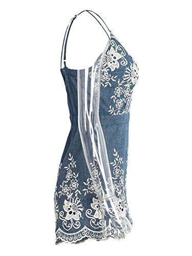 Simplee Apparel Women's Spaghetti Strap Sleeveless V Neck Emboridered Floral Romper Jumpsuit Playsuit Blue