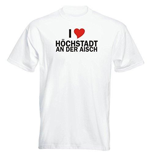 T-Shirt mit Städtenamen - i Love Höchstadt an der Aisch am Main - Herren - Unisex - weiß XXL - JDM - Die Cut - OEM - Funshirt - Fasching - Party - Geschenk