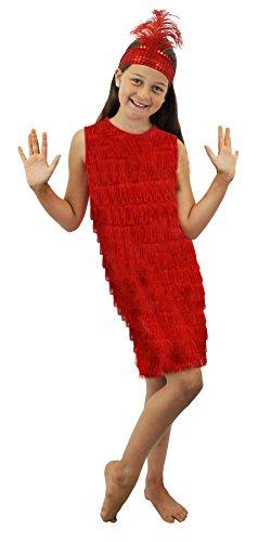 I LOVE FANCY DRESS LTD LoveFancyDress Déguisement garçonne des années 20 pour Filles Robe à Franges avec Bandeau à Plumes et Paillettes Assorti (Rouge, 10-12 Ans)