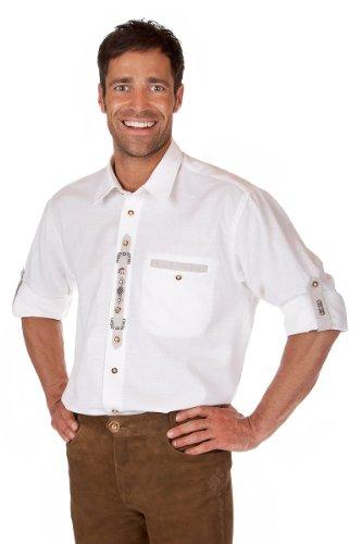 Orbis Textil H063 - Trachten Hemd mit Krempelarm weiß Größe S