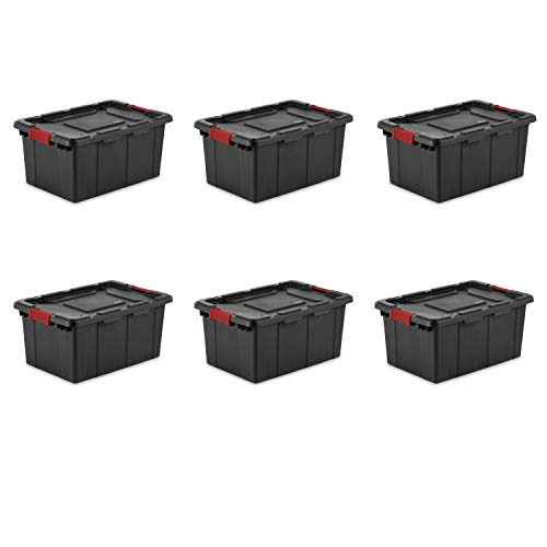 Sterilite 14649006 15 Gallon57 Liter Industrial Tote Black Lid Base w Racer Red Latches 6-Pack