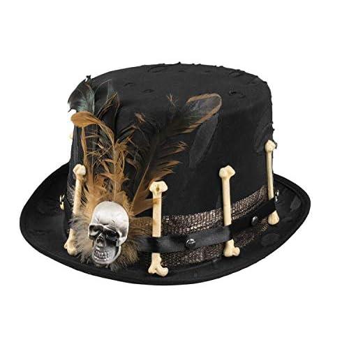 Cappello Voodoo Nana con decorazioni ossa e piume, nero