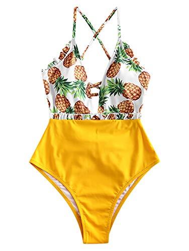 ZAFUL Damen Ananas Lace-up Tropisch High Waisted EIN Stück Bikini Badeanzug Gelb M