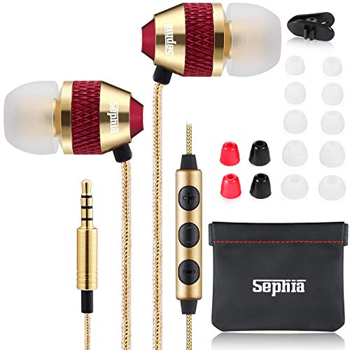 Sephia SP1050VC Earbuds with Microphone and Volume Control, Noise Isolating Earphone Buds, in Ear Headphones with Strong Bass for iPhone, iPad, iPod, MP3 Players, Samsung and Tablets