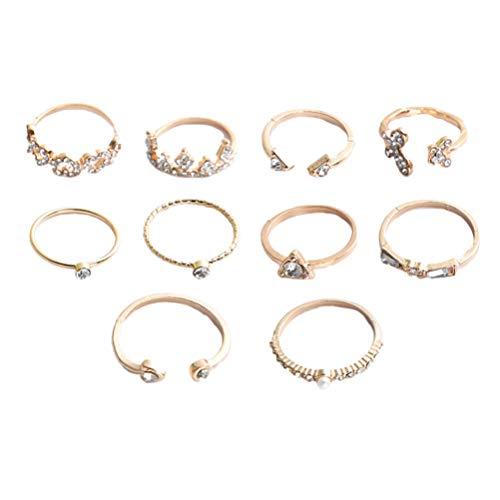 Genérico 10 Piezas de Diamantes de Imitación Anillos en Forma de Corazón Anillos de Mariposa Anillos de Corona Anillos de Dedo de Moda para Mujeres Niñas (Dorado)