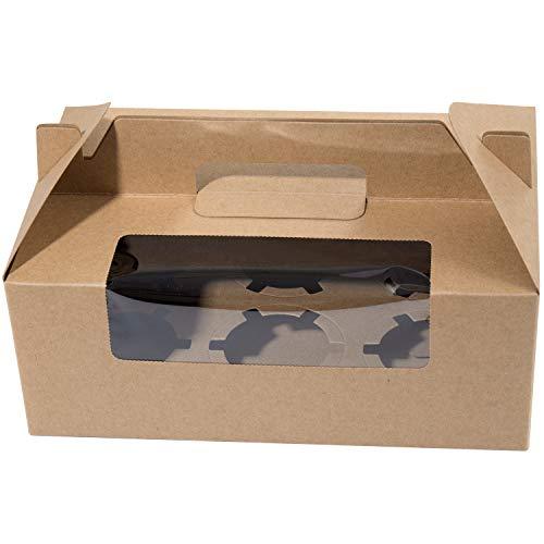 Vordas 12 Stück Cupcake Box, Cupcake Muffin Box für 6 Kuchen, Ideal für Kuchen Dekorieren und Kuchen an Ihre Freunde Nehmen (Kraftpapier)