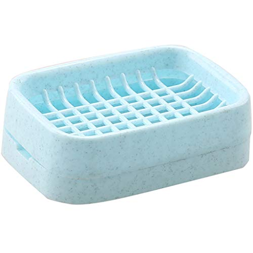 ZAIZAI Tenedor de jabón de baño Caja de jabón Plato de jabón Creativo Doble Cubierta Antideslizante Drenaje de jabón de jabón Contenedor Accesorios de baño (Color : B)