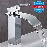 GAVAER Wasserfall Wasserhahn Bad, Einhandmischer Waschtischarmaturen,Kaltes und Heißes Wasser...