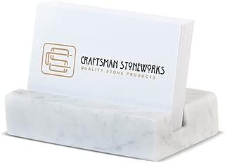 Business Card Holder for Desk Marble Business Card Display Holders Desktop Business Cards Holder Stand Desk Card Display Holder for Home and Office - White Carrara Marble
