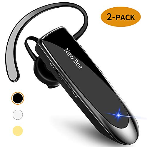 [2 Pack] Bluetooth Earpiece Wireless Handsfree Headset New Bee V5.0 24 Hrs Driving Headset 60 Days Standby Time with Noise Cancelling Mic Headset Case for iPhone Android Samsung Laptop Truck Driver