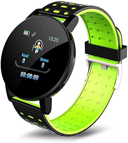 Rastreador de fitness Relojes inteligentes Bluetooth Reloj inteligente Hombres Presión Arterial Reloj Deportivo Mujer Relojes Smart Band Impermeable Sport Tracker-Verde