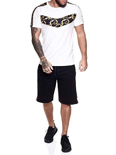 Code47 Herren Short-Jogginganzug Shortanzug Sportanzug Barock Muster Seitenstreifen Short T-Shirt Modell 1462 Weiß XS