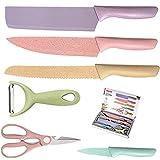 Juego de cuchillos coloridos de cocina de acero inoxidable de 6 piezas para cortar, cortar, cortar, pelar y cocinar
