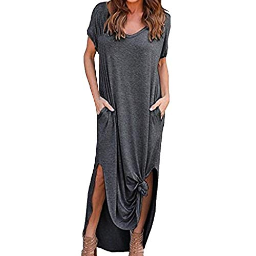 iPOGP Dress Women Short Sleeve Summer Loose Beach Gallus Floor-Length Tops Skirt Girls Fashion 2019 (Dark Gray, Small)