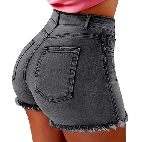 Gusspower Pantalones Cortos para Mujer Sexy Vaqueros Mujer Cintura Alta Tallas Grandes Verano Vintage Jeans para Mujeres Deporte Elástico Slim Fit Pantalones de Mezclillade Mujer