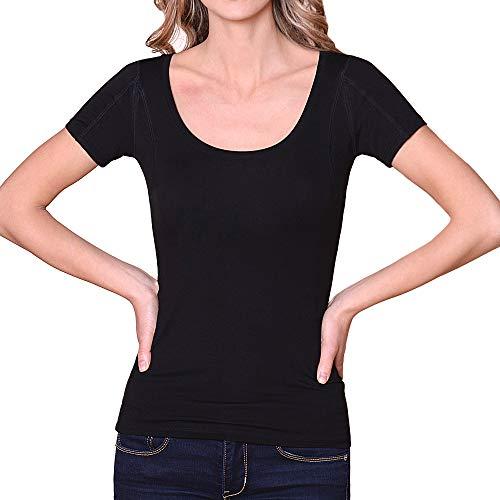 Sweatproof Undershirt for Women, Scoop Neck, Black, Sweat Pads (Small)