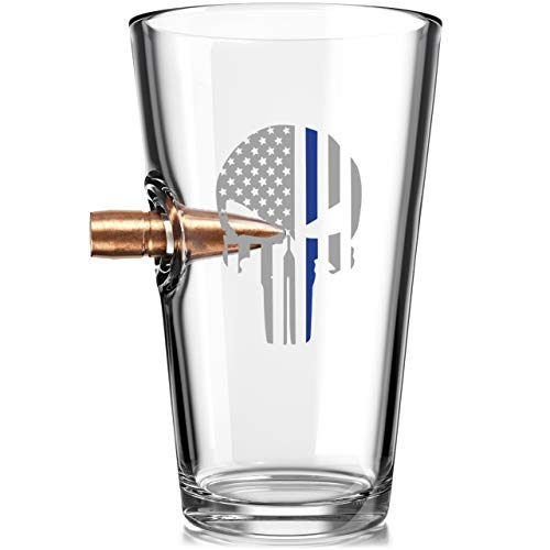 .50 Caliber Real Solid Copper Projectile Hand Blown Pint Glass - Thin Blue Line Punisher Flag