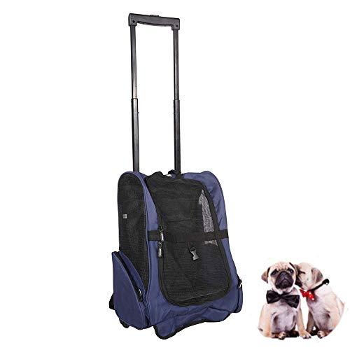 LEMKA Haustiere Rolling Carrier Rucksack Trolley Rad Rund 4-in-1 Pet Travel Transporttasche für Hunde, Transportbox Transporttrolley für Katze Einsatz,in Übereinstimmung mit IATA Anforderungen-Blau