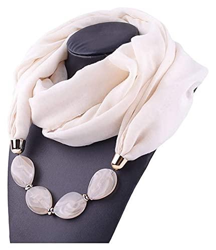 Mujeres bufanda, mujeres geométricas con cuentas de piedra colgante algodón lino bufanda cadena metal encanto collar collar étnico estilo infinito círculo bucle sol a prueba de chal bufanda y chal Seu