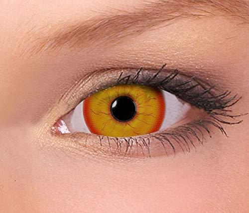 Farbige Mini Sclera Kontaktlinsen Lenses - 27 Modelle - 17mm, 1Paar (2 Stück), ohne Stärke, Gratis Behälter (Crazy Clown Mini Sclera)