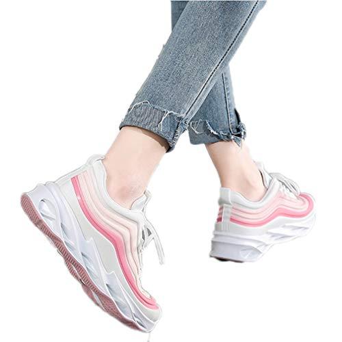 KXDN Señoras Femeninas Clásicas Zapatillas De Deporte Grandes De Espuma De Memoria De Tamaño No Desgaste Resistente Al Deslizamiento Suave Absorbente De Sudor Y Cómodos Zapatos Planos,Rosado,36