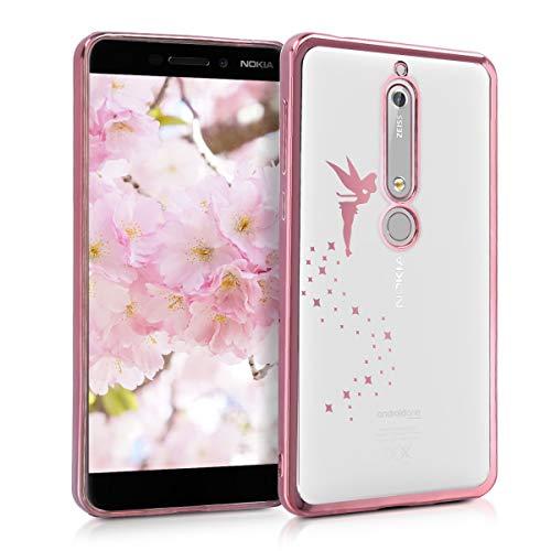 kwmobile Coque Compatible avec Nokia 6.1 (2018) - Housse Protectrice pour Téléphone en Silicone fée Or Rose-Transparent