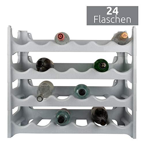ARTECSIS Weinregal stapelbar Kunststoff für 24 Flaschen, stabiles leichtes Flaschenregal für Keller, Gastronomie und Lagerraum, modular erweiterbare Flaschen- und Weinlagerung, Granit grau