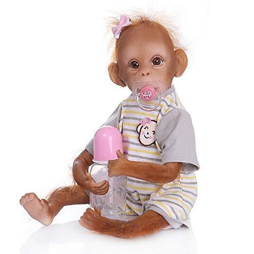 iCradle Muñeca Reborn Mono Reborn Mono Dorado Silicona Muñeca 45cm Mono Bebe Muñeca Parece Realista Precioso Mono de Piel Juguete de colección 06